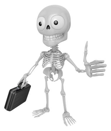 3D Skeleton Mascot the best hand gesture. 3D Skull Character Design Series. Stock Photo