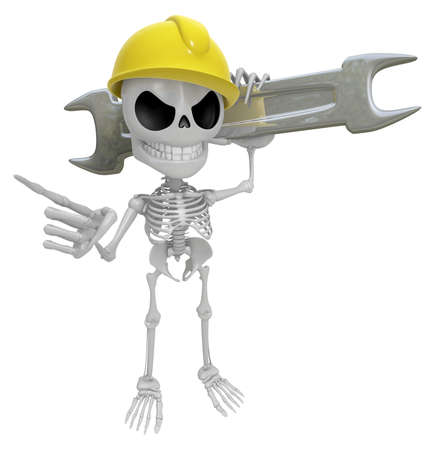 3D Skeleton Mascot is slung the spanner over his shoulders. 3D Skull Character Design Series.