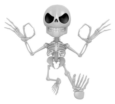 3D Skeleton Mascot It is OK gesture of both hands. 3D Skull Character Design Series. Stock Photo