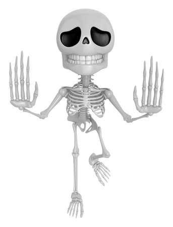 3D Skeleton Mascot is No gestures of both hands. 3D Skull Character Design Series.