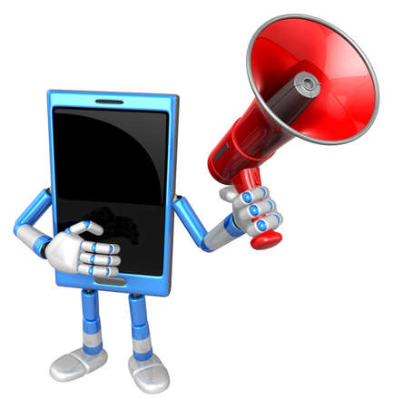3D Smart Phone Mascot the hand is holding a loudspeaker. 3D Mobile Phone Character Design Series. Stock Photo