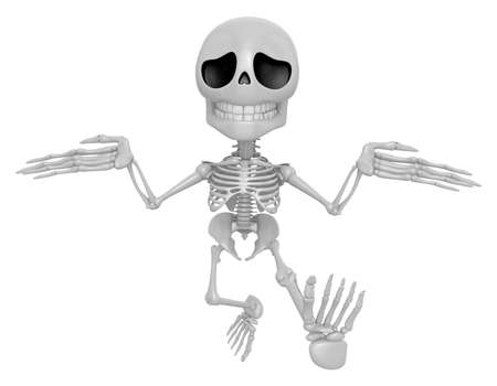 stupidity: 3D Skeleton Mascot is doing not to know gestures. 3D Skull Character Design Series. Stock Photo