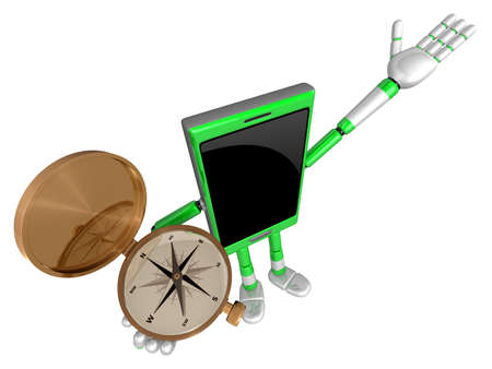 3D Smart Phone Mascot the right hand guides and the left hand is holding a compass. 3D Mobile Phone Character Design Series.