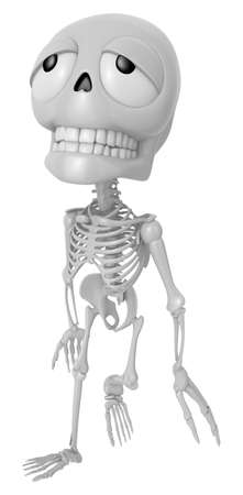tiring: 3D Skeleton Mascot is just tired all the time. 3D Skull Character Design Series.