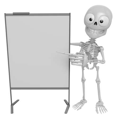 3D-Skelett-Maskottchen Ist Eine Präsentation Vor Dem Briefing-Chart ...
