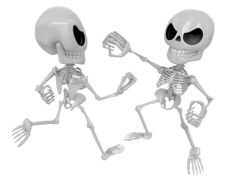 3D Two Skeleton Mascot is a fist fighting. 3D Skull Character Design Series.