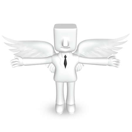 one 3d business man stand to spread his arms with wings