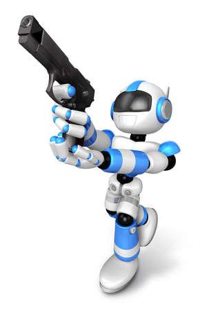 青いロボットの 3 D は火目的のショット自動拳銃です。3 D ロボット シリーズを作成します。