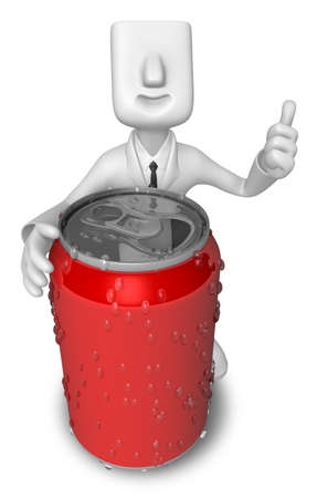 Business Man leaning on The Red cans. 3D Business Man Character