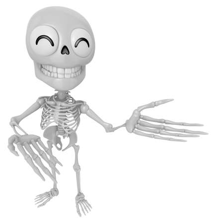 suggests: 3D Skeleton Mascot Suggests the direction with both hands. 3D Skull Character Design Series.