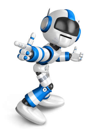 Blue robot character Pointing toward the front. Create 3D Humanoid Robot Series.