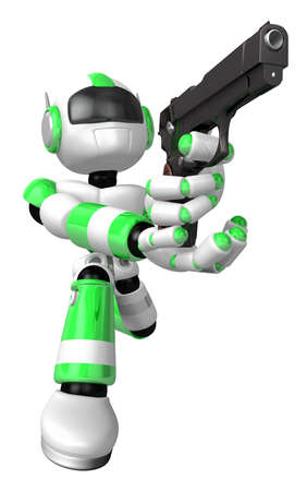 3D Green Robot fire an aimed shot a automatic pistol. Create 3D Humanoid Robot Series.