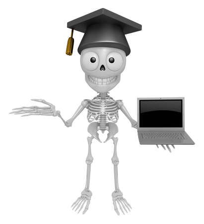 3D Skeleton Mascot the left hand guides and right hand is holding a laptop. 3D Skull Character Design Series.