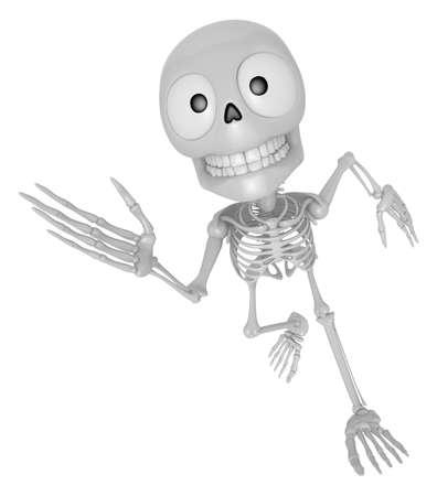 3D Skeleton Mascot on Running. 3D Skull Character Design Series.