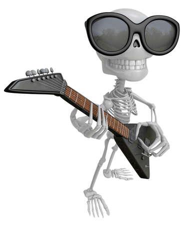 3D-skeletmascotte wordt met behendige vingers op de gitaar gespeeld. 3D Skull Character Design Series. Stockfoto