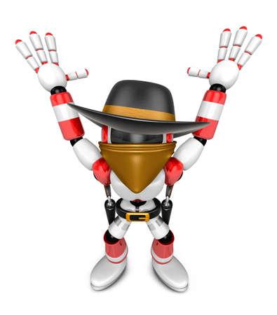 降伏のしるしに両手で 3 D 赤い悪役ロボット。3 D ロボット シリーズを作成します。