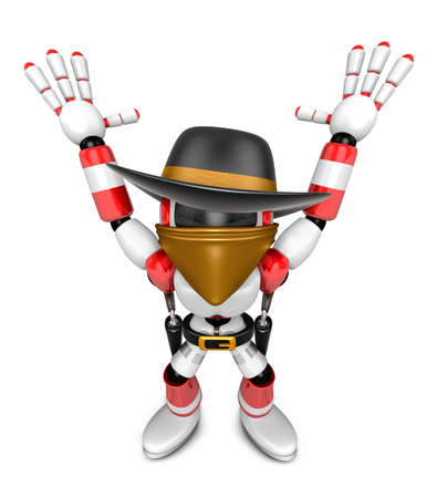 3D Red villain robot with both hands in a gesture of surrender. Create 3D Humanoid Robot Series.