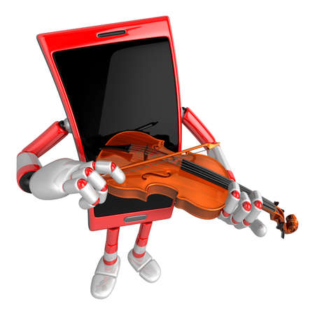 cellularphone: 3D Smart Phone Mascot has to be playing the violin. 3D Mobile Phone Character Design Series.