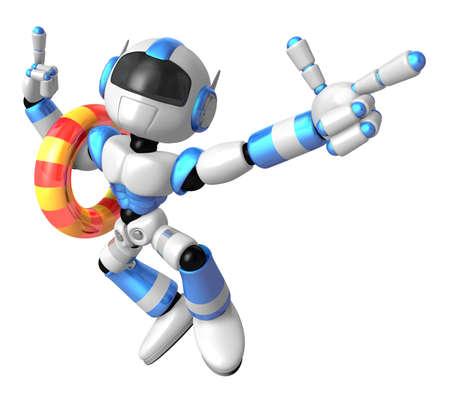 literacy: 3d Blue robot set out on a summer vacation. Create 3D Humanoid Robot Series.