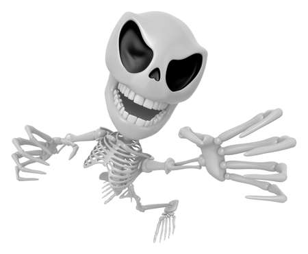 intimidate: 3D Skeleton Mascot is scaring the daylight out of somebody. 3D Skull Character Design Series.