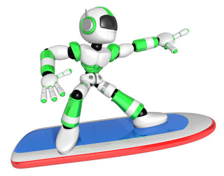 3D Green robot is riding a surf board to the Right. Create 3D Humanoid Robot Series. Stock Photo