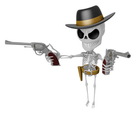 3D Skeleton Mascot is villains holding a revolver gun with both hands. 3D Skull Character Design Series. Stock Photo
