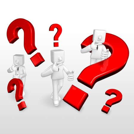 relaciones publicas: 3d business man wondering around the red question mark