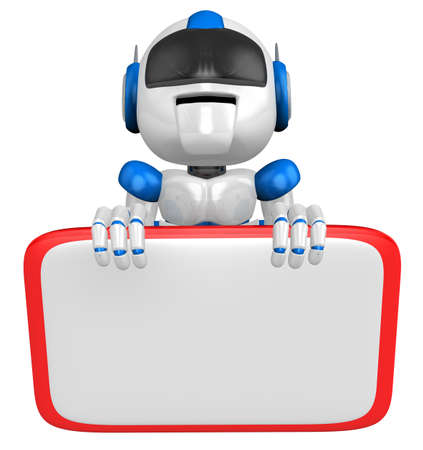 publicize: Blue robot Character is holding a blackboard with both hands. Create 3D Humanoid Robot Series.