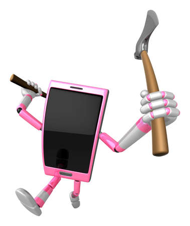 3D Smart Phone Mascot brandishes an axe with a very sharp blade. 3D Mobile Phone Character Design Series.