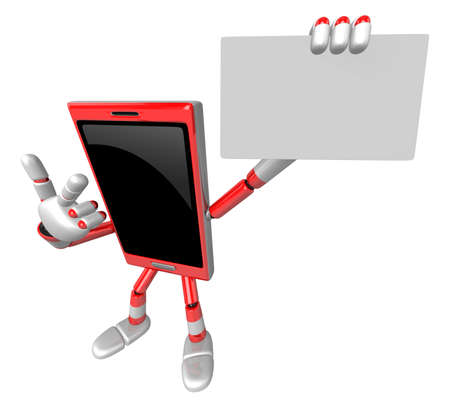3D Smart Phone Mascot has been directed towards business card. 3D Mobile Phone Character Design Series.