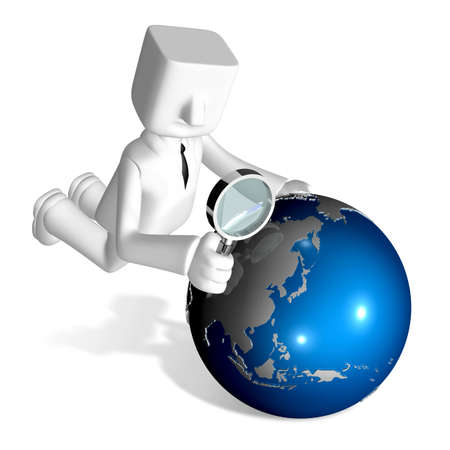 one 3d business man obsering a globe by magnifying glass