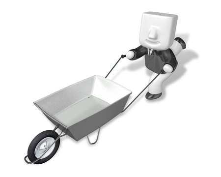 3D Business man Mascot handcart. 3D Square Man Series.