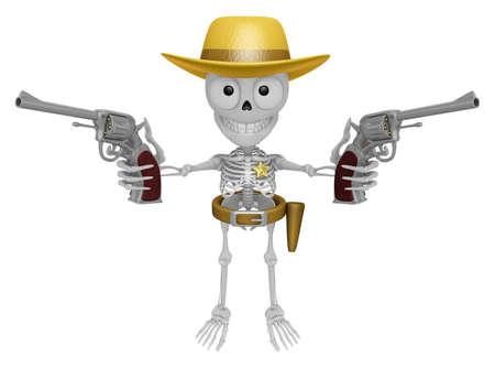 3 D スケルトン マスコットは、両方の手でリボルバー銃を保持しているカウボーイです。3 D スカル キャラクター デザイン シリーズ。 写真素材