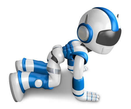 Blue robot character throw herself at my feet and begged my pardon. Create 3D Humanoid Robot Series.