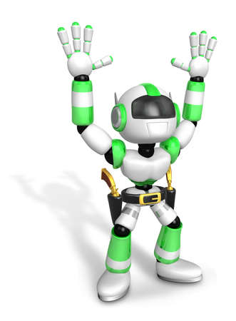 combatant: 3D Green cowboy robot with both hands in a gesture of surrender. Create 3D Humanoid Robot Series. Stock Photo