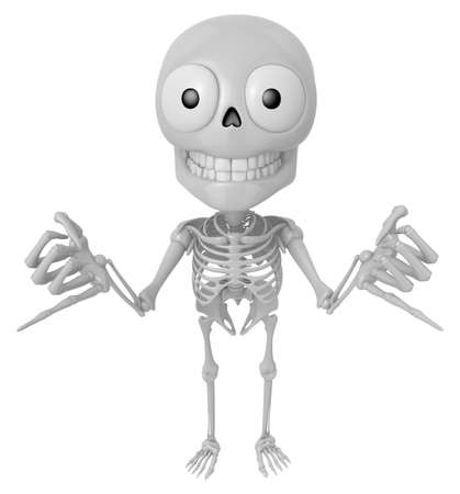 3D Skeleton Mascot is Taking a gesture that promises. 3D Skull Character Design Series. Stock Photo
