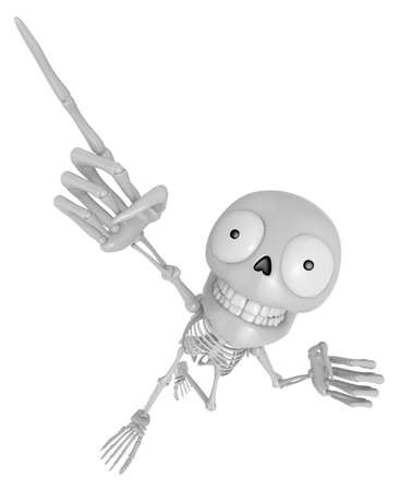3D Skeleton Mascot is points a finger one direction. 3D Skull Character Design Series. Stock Photo