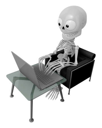 3D Skeleton Mascot Sitting on the couch working on a laptop. 3D Skull Character Design Series. Stock Photo