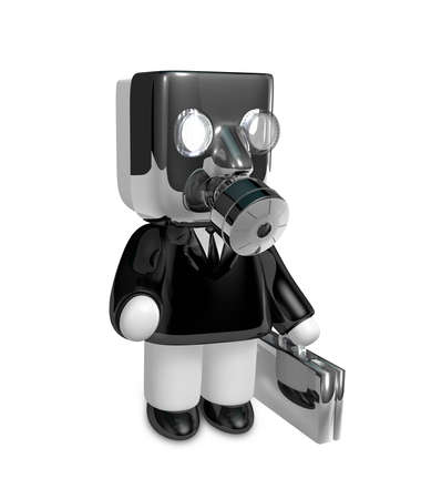 humorous: 3d businessman person in a gas mask. 3D Square Man Series. Stock Photo