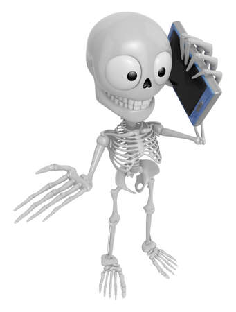 3D Skeleton Mascot the right hand guides and the left hand is holding a Smart Phone. 3D Skull Character Design Series. Stock Photo