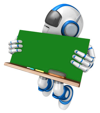 Blue robot character holding a blackboard Jumping. Create 3D Humanoid Robot Series. Stock Photo