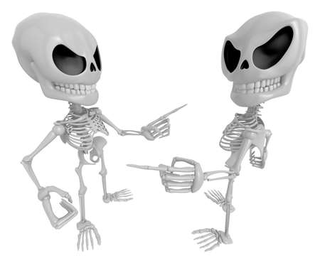 indignation: 3D Skeleton Mascot shake hands with each other. 3D Skull Character Design Series.