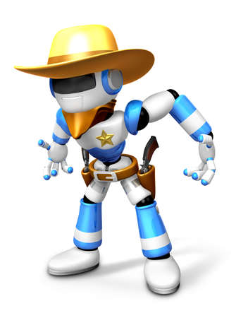 3D blue Robot Sheriff is taking pose a gunfight. Create 3D Humanoid Robot Series.