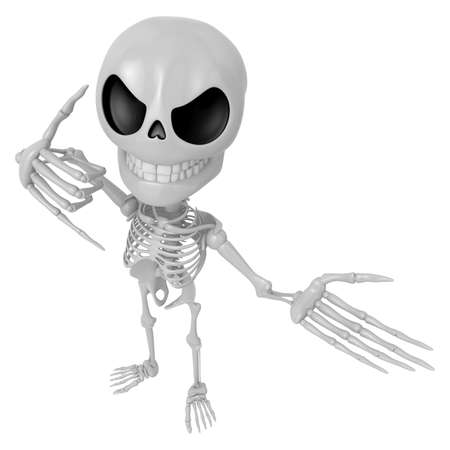 3D Skeleton Mascot is telephone hand gestures. 3D Skull Character Design Series. Stock Photo