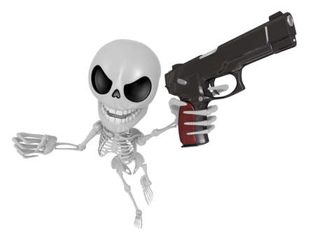 combatant: 3D Skeleton Mascot is the strike with ones fist. 3D Skull Character Design Series.