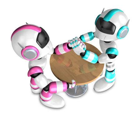 サイエントロジー マゼンタ ロボットとロボットのアーム レスリング対決。3 D ロボット シリーズを作成します。