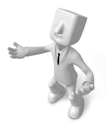3d Businessman gesture directions. 3D Square Man Series.