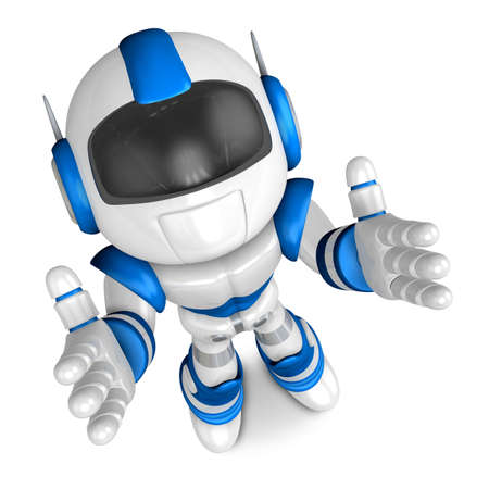 fidelity: Blue robot mascot the direction of pointing with both hands. Create 3D Humanoid Robot Series.