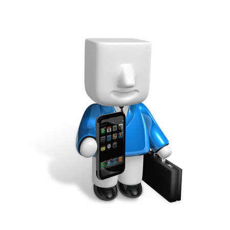 3D Businessman with a smartphone. 3D Square Man Series.