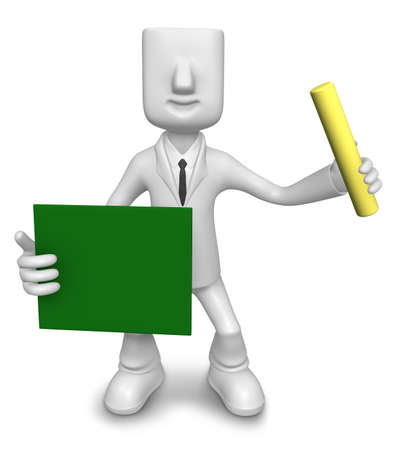 3D Business man mascot hand is holding a chalk and board. 3D Square Man Series. Stock Photo